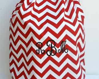 Large  Red Chevron  Laundry Bag Tote College Dorm Santa Bag with Shoulder Strap Monogrammed