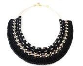 SALE - Black Crochet Statement Necklace