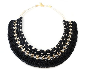 Black Crochet Collar Statement Necklace