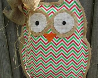 READY TO SHIP Owl Burlap Door Hanger Door Decoration Chevron Pattern Christmas Colors
