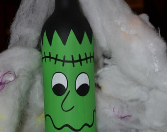 Hand Painted Halloween Frankenstein Wine Bottle Decoration