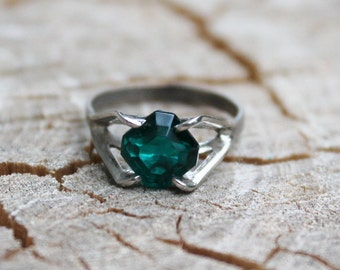 Vintage Silver RIng with Blue Green Glass