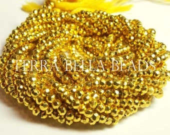 Full 13 inch strand metallic yellow coated PYRITE faceted rondelle beads 3.5mm