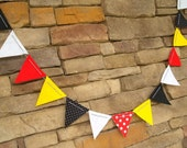 SALE Red, Yellow and Black with Polka Dots Felt Bunting with Bakers Twine