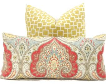 Decorative Pillow Cover, Kravet Red, Yellow, Gray Paisley Ikat, Square or Lumbar pillow - Throw pillow, accent pillow, toss pillow Latika