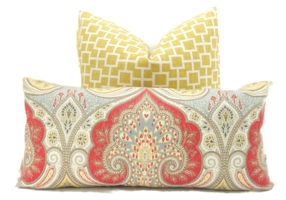 Decorative Pillow Cover, Kravet Red, Yellow, Gray Paisley Ikat, Square or Lumbar pillow - Throw pillow, accent pillow, toss pillow Latika