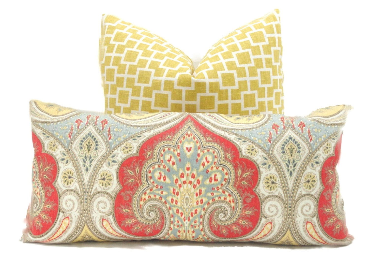 Red And Yellow Decorative Pillows : Decorative Pillow Cover Kravet Red Yellow Gray Paisley