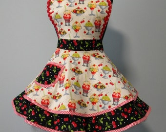 Womens Apron-Cherry on Top Flounce Apron