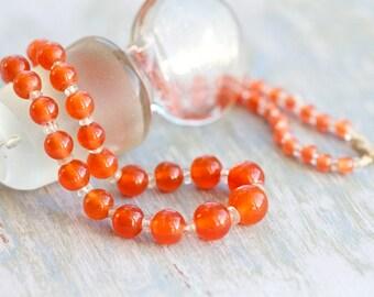 Orange Glass Short Necklace - Antique Amber Colored Beads Chocker