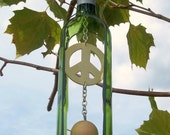 Green Wine Bottle/ Peace Sign Wind Chime