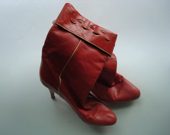 Red leather western glam boots