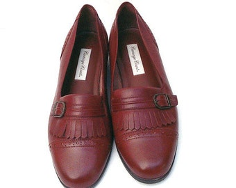 Vintage Brown Leather Loafers/ Brown Oxford's with Buckle and Fringe/ 1980s Oxfords/Women 8