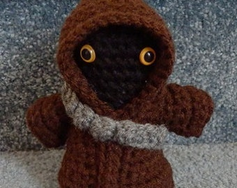 Made to order, Hand crocheted Star Wars Jawa with Weapons Belt Amigurumi Doll