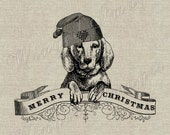 Merry Christmas Dog. Instant Download Digital Image No.200 Iron-On Transfer to Fabric (burlap, linen) Paper Prints (cards, tags)