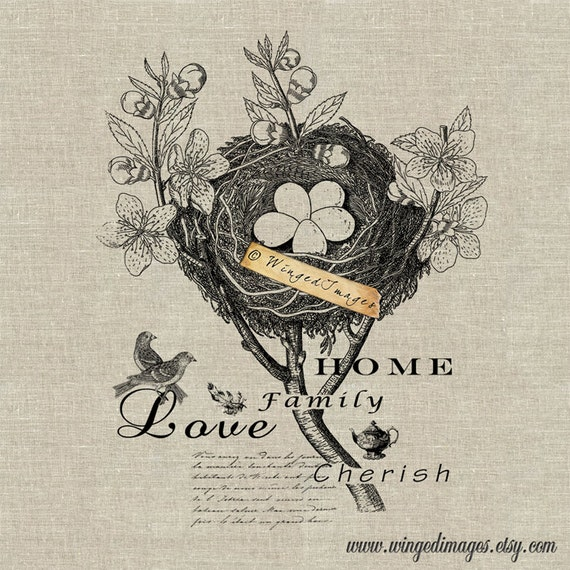 Blooming Bird Nest Instant Download Digital Image No.107 Iron-On Transfer to Fabric (burlap, linen) Paper Prints (cards, tags)