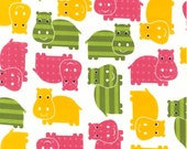 New Urban Zoologie Hippos in Spring Fabric by Ann Kelle for Robert Kaufman (HALF yard) Buy  More & SAVE