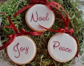 Noel Peace Joy Hoop Art Christmas Tree Ornaments - Christmas Decorations - 3 inch - Red Ribbon - Hand Embroidery