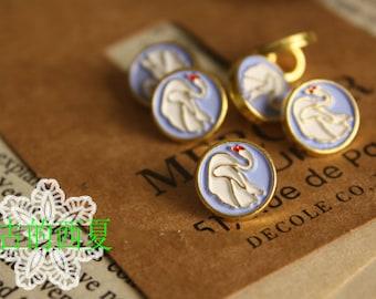 10pcs vintage unique white swan blue background golden EDGE metal buttons