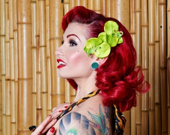 Rockabilly Green Orchid Hair Flower