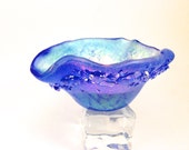 Fused Dichroic Glass Tea Light Candle Holder Small Dish Caribbean Blue 012