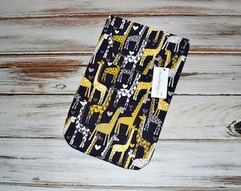 Diaper Clutch - Baby Diaper Holder Gray and Yellow - Sweet Giraffe