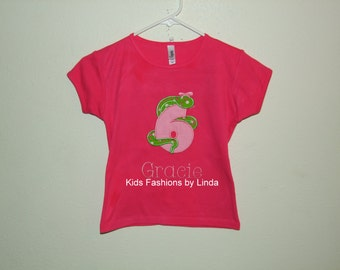 Personalized Hot Pink/Pink Snake w/Bow  Birthday Tshirt
