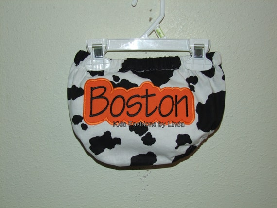 Personalized Cow /Orange Print Diaper Cover