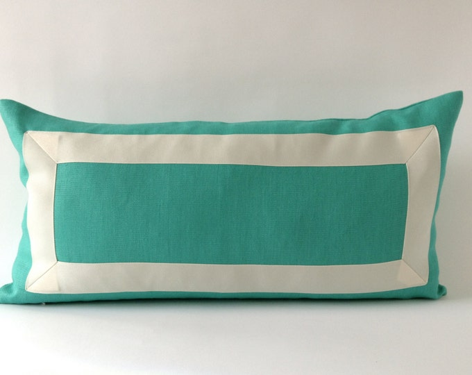 Decorative bolster Pillow Cover -Mint Green Linen Pillow Cover with Off White Grosgrain Ribbon- Cushion Cover