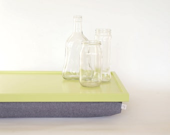 Denim Laptop Lap Desk or Breakfast serving Tray - Light green with Denim cushion