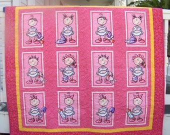 Quilt Moda Funny Babies - Modern Quilts - Pink Baby Toddler Quilts - Toddler Blankets -  Toddler Bedding