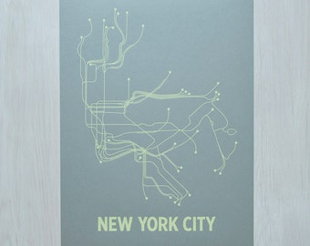 NYC Screen Print - Steel Blue/Yellow