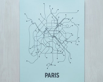 Paris Screen Print - Ice Blue/Dark Gray