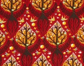20 X 20 LAMINATED cotton fabric yardage   - Tree of Life Cinnamon red - Tula Birds and Bees - BPA free Approved for children products