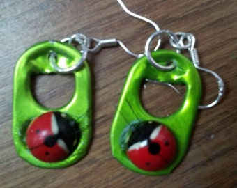 RECYCLED--Hand Crafted Lady Bug Pop Top Earrings