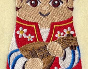 Matryoshka Doll with Kobza Embroidered Flour Sack Hand Towel