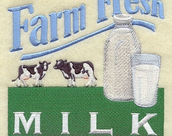 Farm Fresh Milk and Cows Farm Theme Embroidered Flour Sack Hand/Dish Towel
