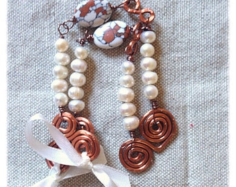 Copper swirl, pearls & brecciated turquoise necklace