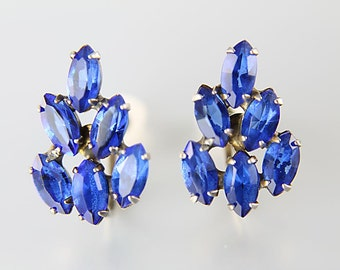 Cobalt Blue Earrings, Marquis Rhinestone cluster Sterling silver Screw Back 1940s jewelry Retro