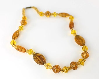 Art Deco Amber Czech glass Necklace, Pressed Glass antique 1920s jewelry