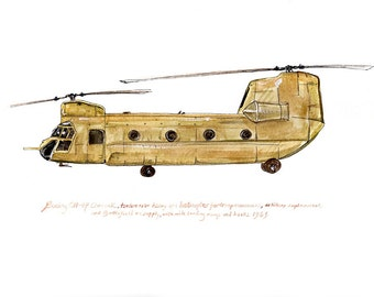 "CH-47 Chinook, us army aviation watercolor print, 8x10"" (Tanner)"