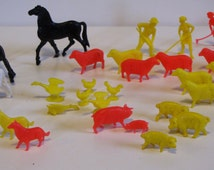 Vintage Plastic Farm Animals Toys - dogs, pigs, sheep, cows, horses, ducks, chickens