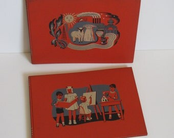 Vintage 1939 Orange Childcraft Books - two books - 13 and 14 - Art and Music, Science and Industry