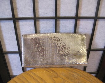 Vintage 1950s 1960s Duramesh Metallic Silver Clutch Handbag Purse Sparkling Glitter Evening Bag