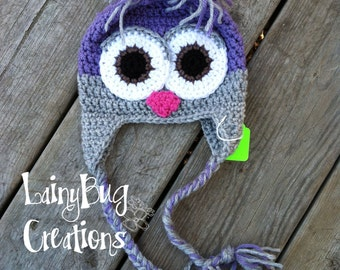 Purple and Grey crochet owl size 3-6 months