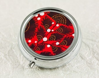 Art Deco Red Floral Pill Box with Mirror, Pill Organizer, Pill Holder, Travel Pill Container for vitamins or medication