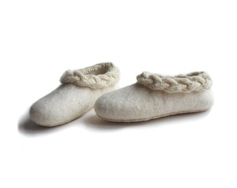 Handmade wool felted slippers with rubber soles - house shoes - natural - eco friendly