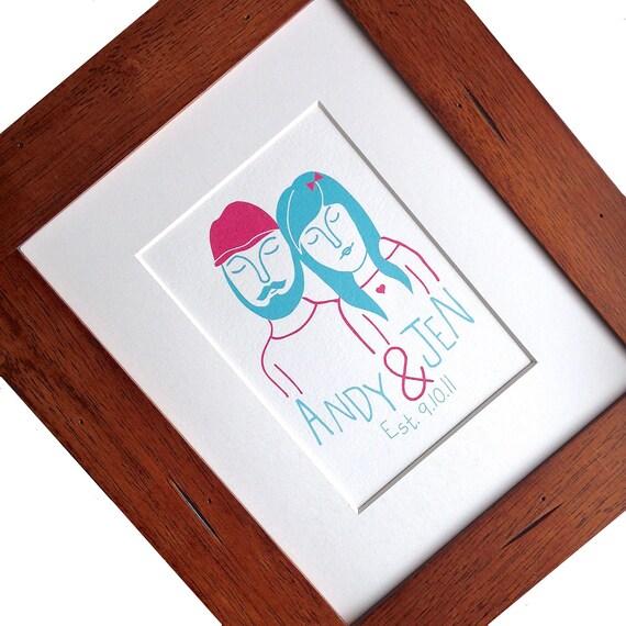 Custom portrait, wedding gift for couple, custom couple portrait, custom family portrait