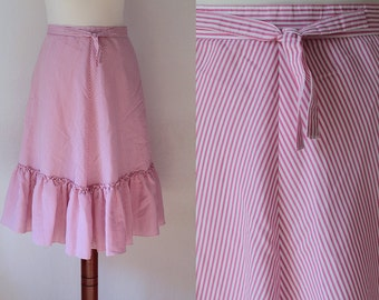 Vintage Skirt - 1980's Pink Skirt with Stripes - Size S