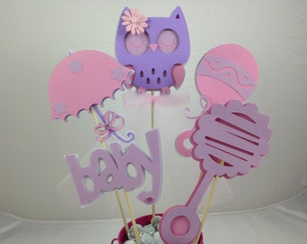 Baby Shower Table Decoration Owl Lavender and Pink