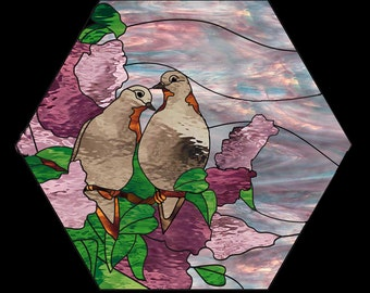 Stained Glass Window Panel - Mourning Doves in Lilac